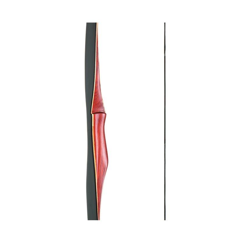 Langbogen FOX 62Z mit schwarzen Wurfarmen und roten Griff