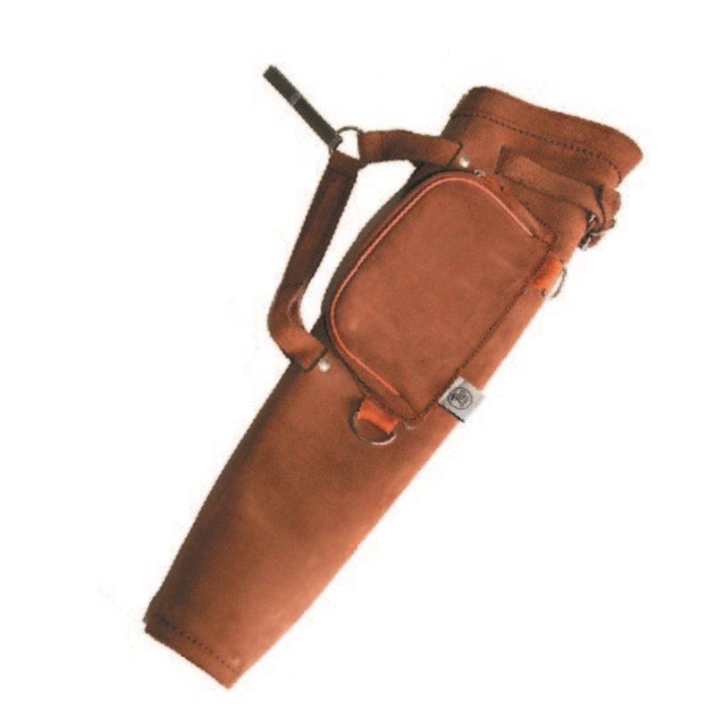 Köcher Seitenköcher mit Tasche Leder hell oder dunkel braun