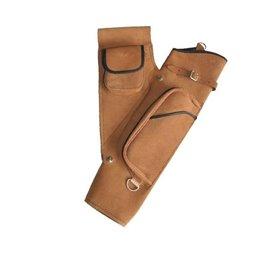 Köcher Seitenköcher mit Gürtelhalterung und Tasche Leder hell oder dunkel braun
