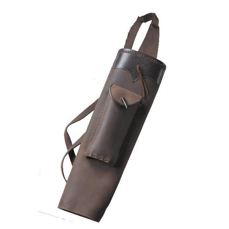 Köcher Rückenköcher Rau und Glattleder mit Tasche Handgefertigt