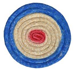 runde Traditionelle Strohscheibe Deluxe mit farbigen Ringen