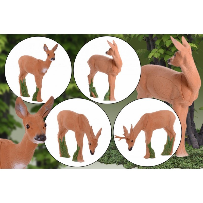 IBB 3D Tier Rehgruppe mit äsenden Rehbock