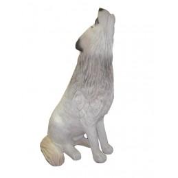 Leitold 3D Tier Wolf weiss sitzend heulend