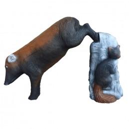 Leitold 3D Tier Keiler springend mit Stein